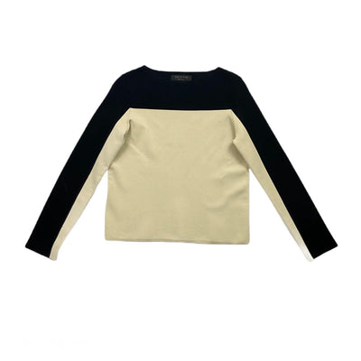 Rag & Bone Colorblock long sleeve Top Ivory Black Consignment Shop From Runway With Love
