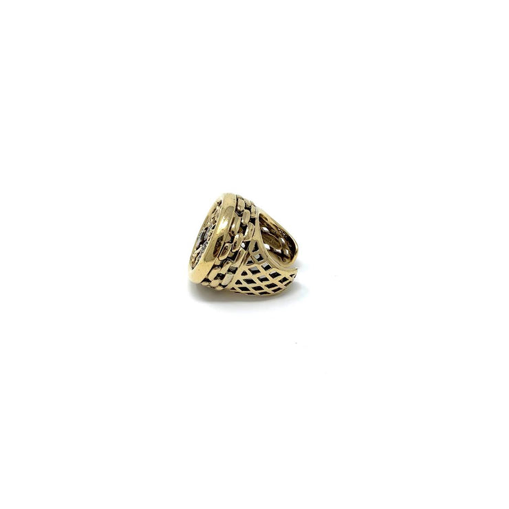 Roberto Cavalli gold ring crystal design
