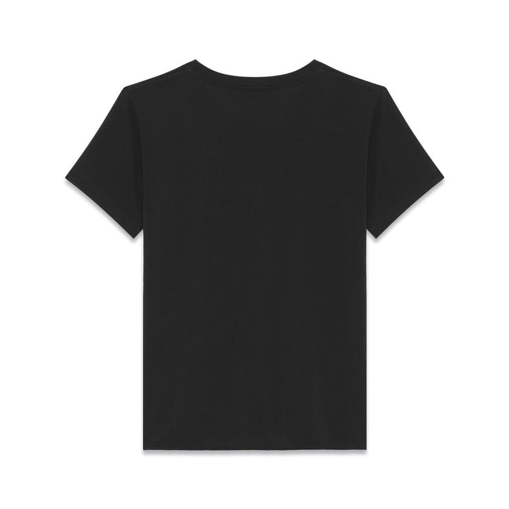 Saint Laurent Black No Smoking Crew Neck T-Shirt Red Lips Consignment Shop From Runway With Love