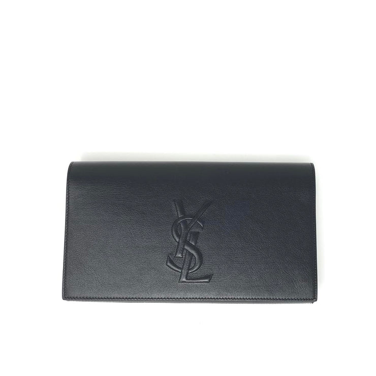 Saint Laurent Belle de Jour Clutch Black Leather Luxury Consignment Shop From Runway WIth Love