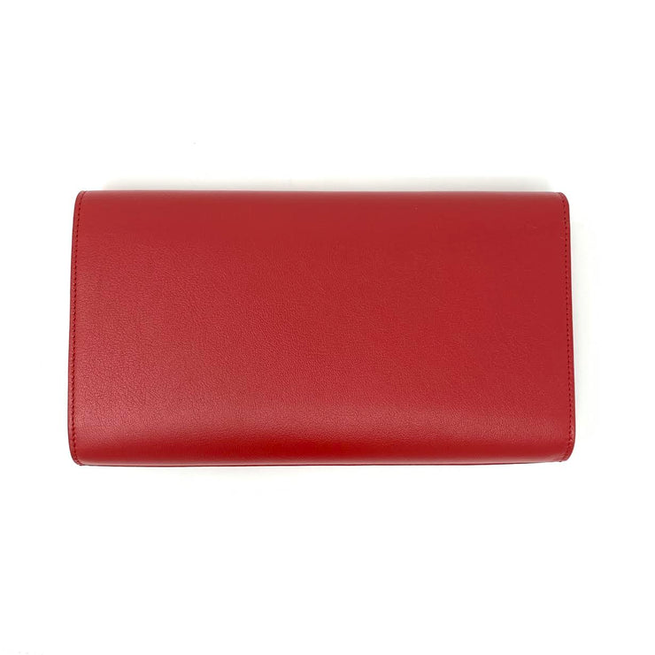 Saint Laurent Belle de Jour Clutch Red Leather Luxury Consignment Shop From Runway WIth Love
