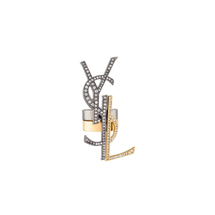 Saint Laurent Deconstructed Monogram Ring Set Two Gold Silver Crystal Consignment Shop From Runway With Love