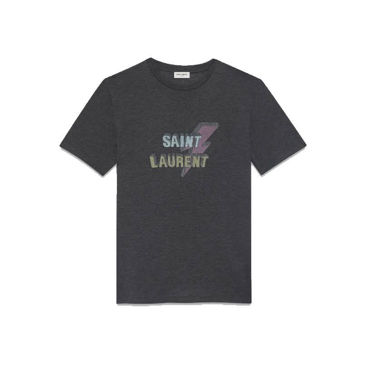 Saint Laurent T-Shirt Gray Lightning Bold Consignment Shop From Runway Wit hLove