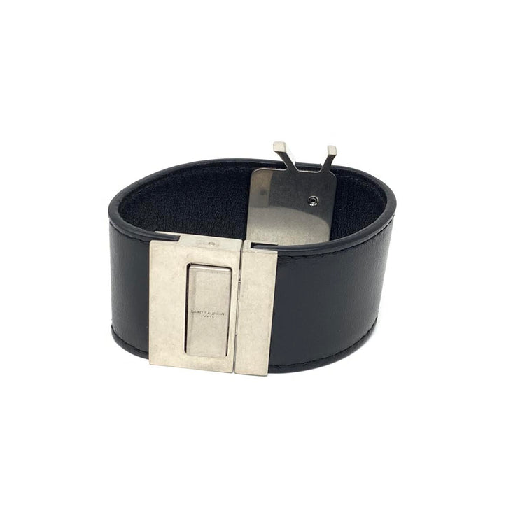 Saint Laurent Leather Cuff Silver black YSL Consignment Shop From Runway With Love