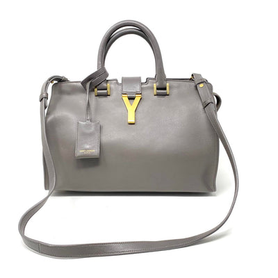Saint Laurnet Small Classic Cabas Y Bag Gray Gold Consignment Shop From Runway With Love
