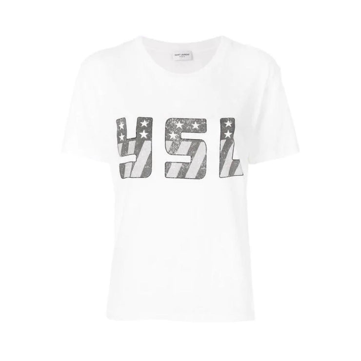 Saint Laurent T-shirt YSL American Flag logo Consignment Shop From Runway With Love