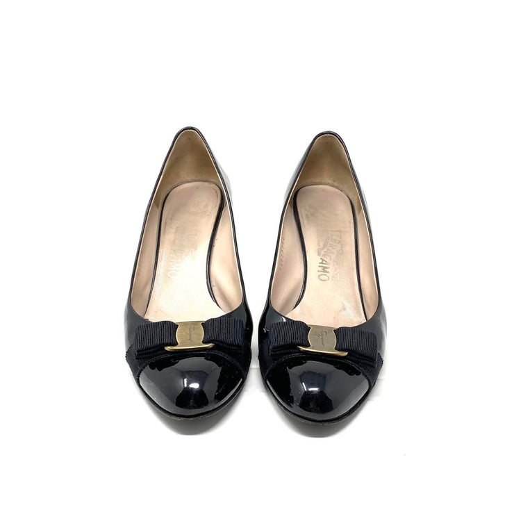 Salvatore Ferragamo Vara Round-Toe Pumps Black Patent Leather Consignment Shop From Runway With Love