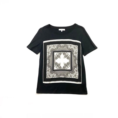 Sandro Silk Cotton T-shirt  black white consignment shop from runway with love