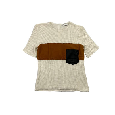 white Sandro waffle T-shirt with leather pocket suede chest Consignment shop From Runway With Love
