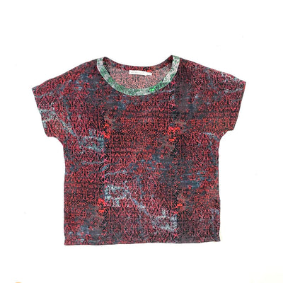 Red green See by Chloe silk t-shirt vintage design Consignment shop from runway with love