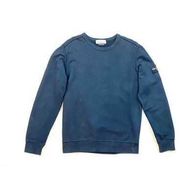 Stone Island Logo-Accented arm patch Sweatshirt Navy Blue Consignment Shop From Runway With Love