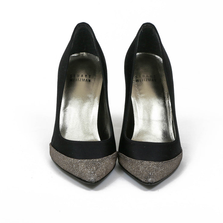Stuart Weitzman black Satin Heels Pointed toe designer consignment From Runway With Love Cancer research Charity donation
