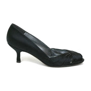 Stuart Weitzman Black Satin Heels designer consignment From Runway With Love Cancer research Charity donation