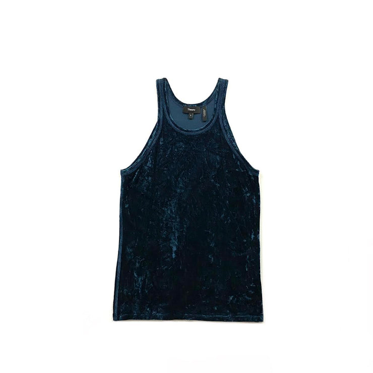 Theory blue velvet sleeveless top Consignment shop from runway with love