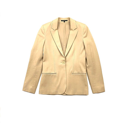 Theory Notch-Lapel Cotton Blazer Beige Consignment Shop From Runway With Love