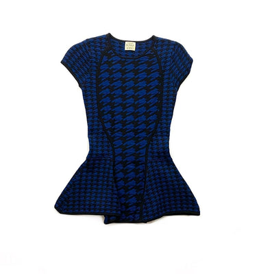 Torn By Ronny Kobo Fitted Peplum Top Houndstooth Blue Consignment shop From Runway With Love