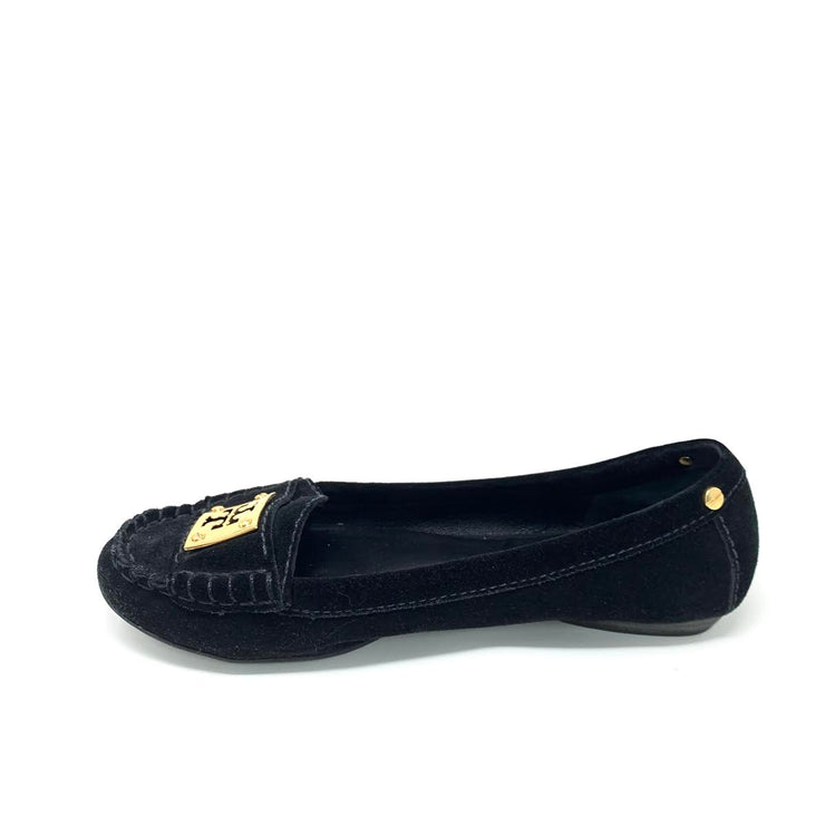 Tory Burch Black Suede Square Toe Loafer Consignment shop From Runway With Love