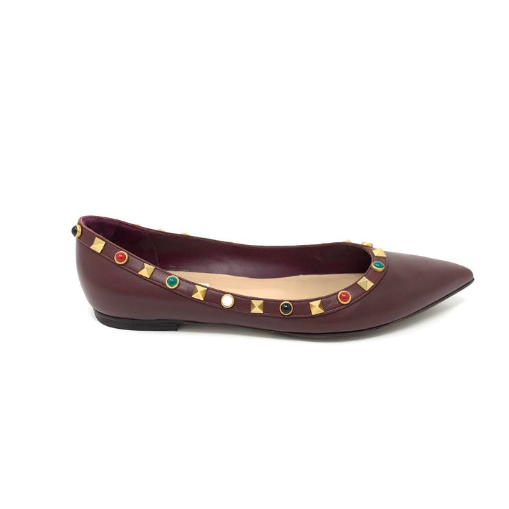 Valentino Rockstud Leather Flats - Size 37.5