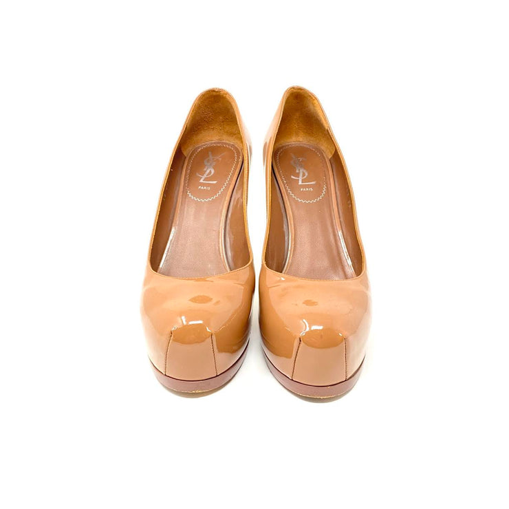 Yves Saint Laurent Tribute Two Platform Heels Beige Patent Leather Consignment Shop From Runway With Love
