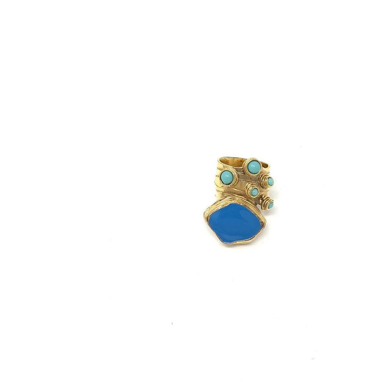 Yves Saint Laurent Arty Oval Dots Ring gold blue