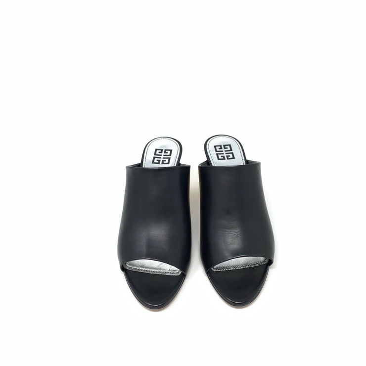 Givenchy Logo-Heel Leather Mules - Size 39