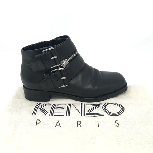 Kenzo Black Leather Buckled Ankle Boots zipper