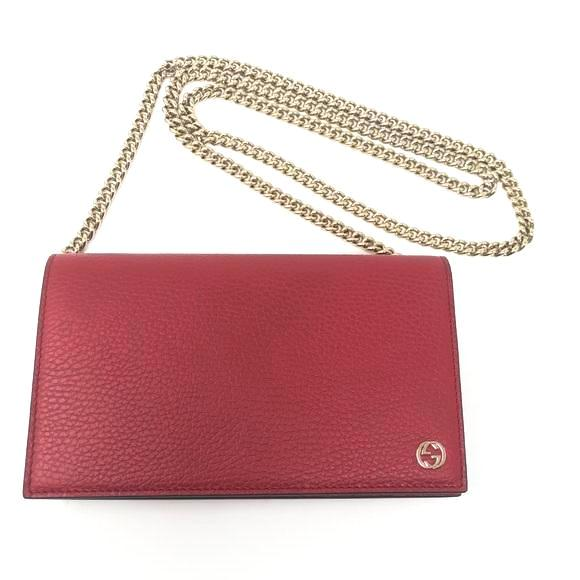Gucci Betty Leather Wallet on Chain - Red