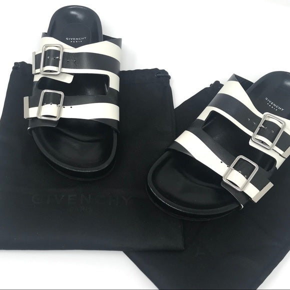Givenchy leather Swiss sandals in black with white stripe