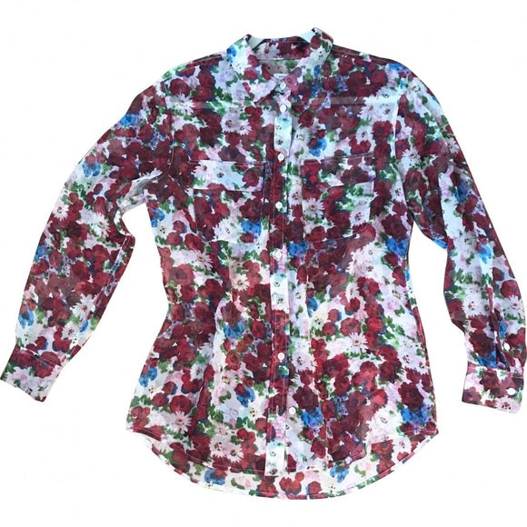 Equipment blouse in a sheer floral silk with buttons up the front