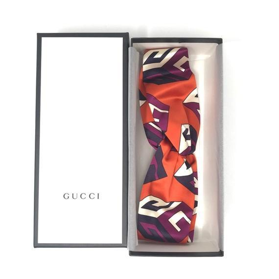Gucci GG Wallpaper Silk Duchesse Headband in orange