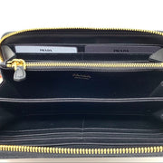 Prada Continental zip Wallet black leather Designer Consignment From Runway With Love
