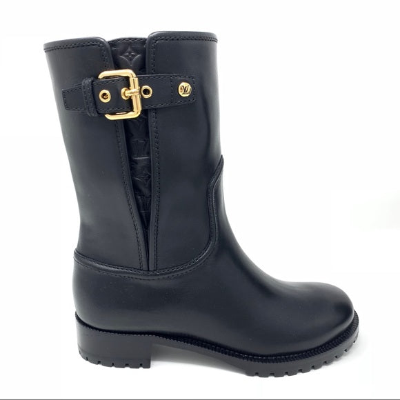 Louis Vuitton black Suzy Flat Half Boot Leather Biker Boot gold buckle Designer Consignment From Runway With Love