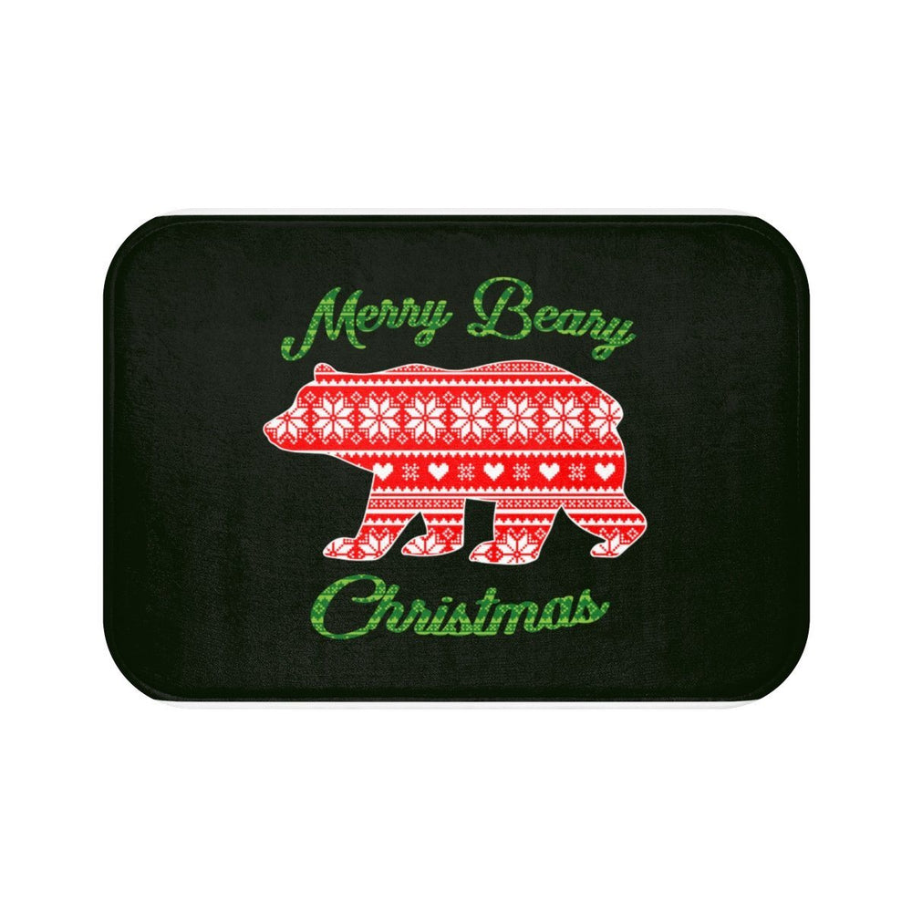 dark green microfiber memory foam bath mat with image of a bear and green text Merry Beary Christmas