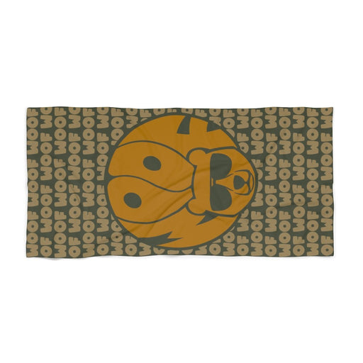Green Beach Towel with gold brown image of bear and woof text