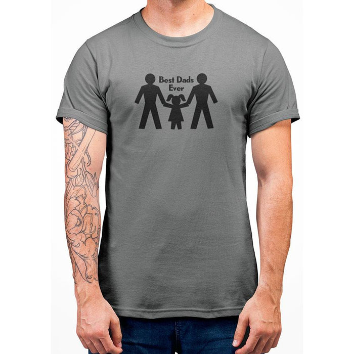 Gray 100% preshrunk cotton tshirt with image of two dads and their girl