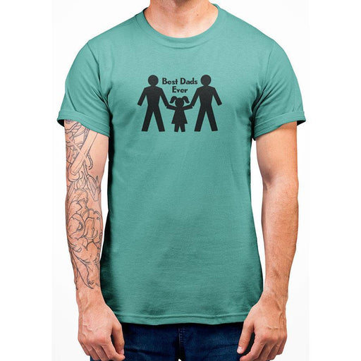 Mint 100% preshrunk cotton tshirt with image of two dads and their girl