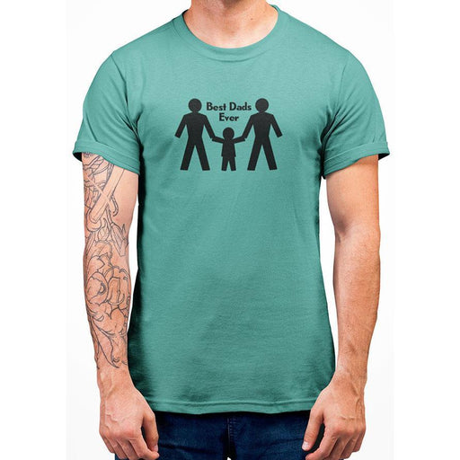 mint 100% preshrunk cotton tshirt with image of two dads their son