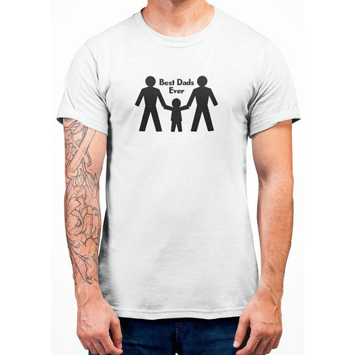 white 100% preshrunk cotton tshirt with image of two dads their son