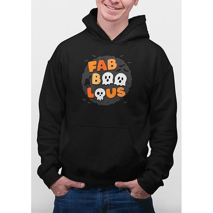 Black halloween hoodie with text fabboolous in halloween colors