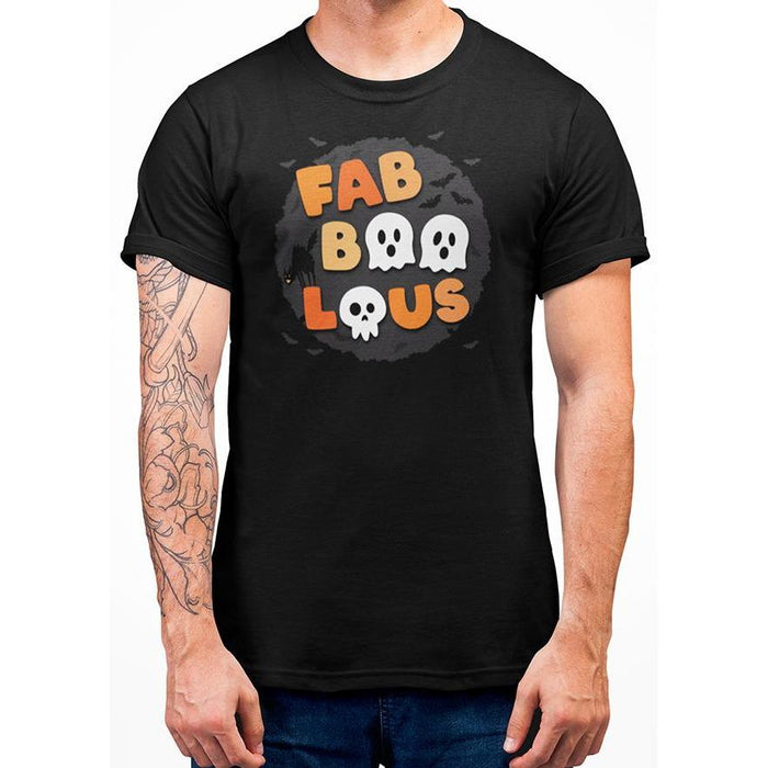 Black cotton halloween t-shirt with bats and wording fabboolous