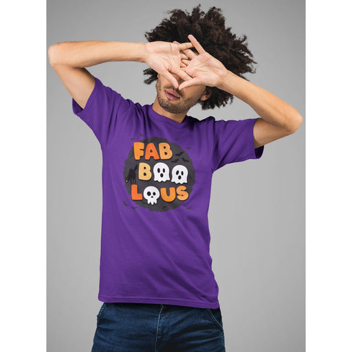 Guy with hand over face wearing purple cotton halloween t-shirt with bats and wording fabboolous