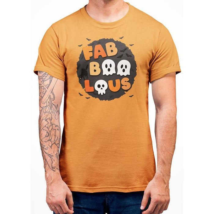 Orange cotton t-shirt with bats and wording fabboolous