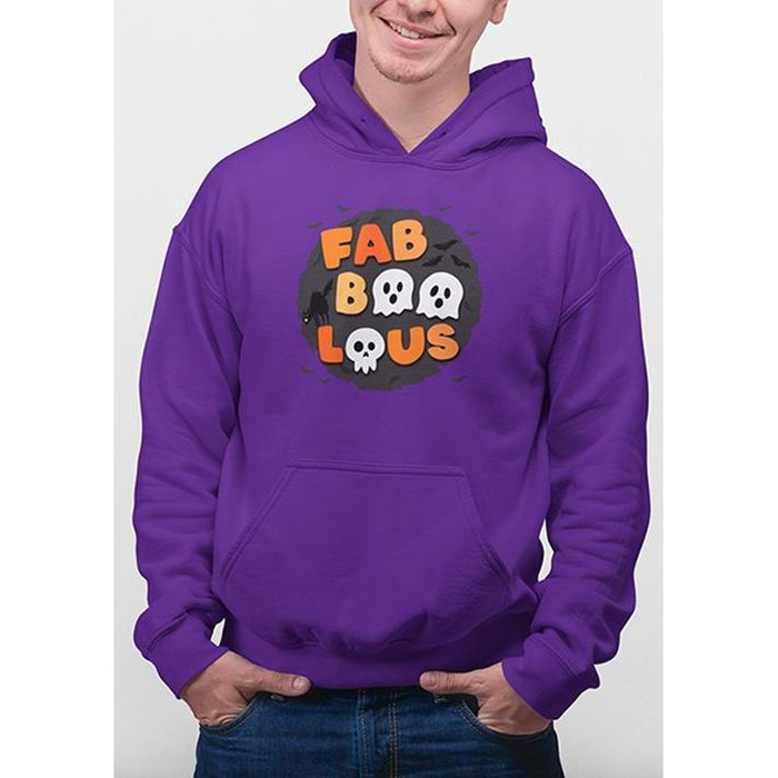 Purple halloween hoodie with text fabboolous in halloween colors