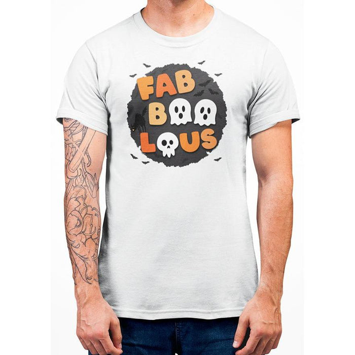 White cotton halloween t-shirt with bats and wording fabboolous