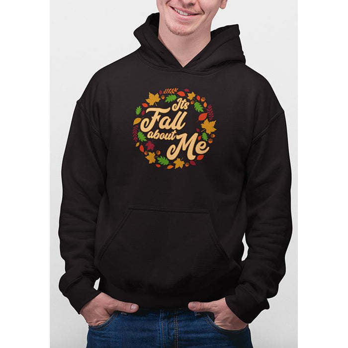 Jet Black hoodie with yellow text Its Fall About Me and images of leaves