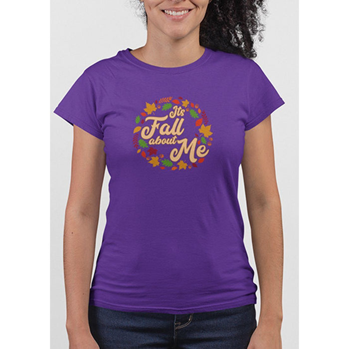 Ladies Purple tshirt with text its fall about me and images of leaves