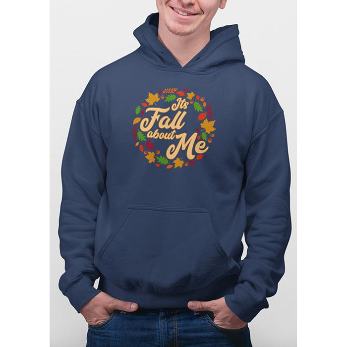 Oxford Navy hoodie with yellow text Its Fall About Me and images of leaves