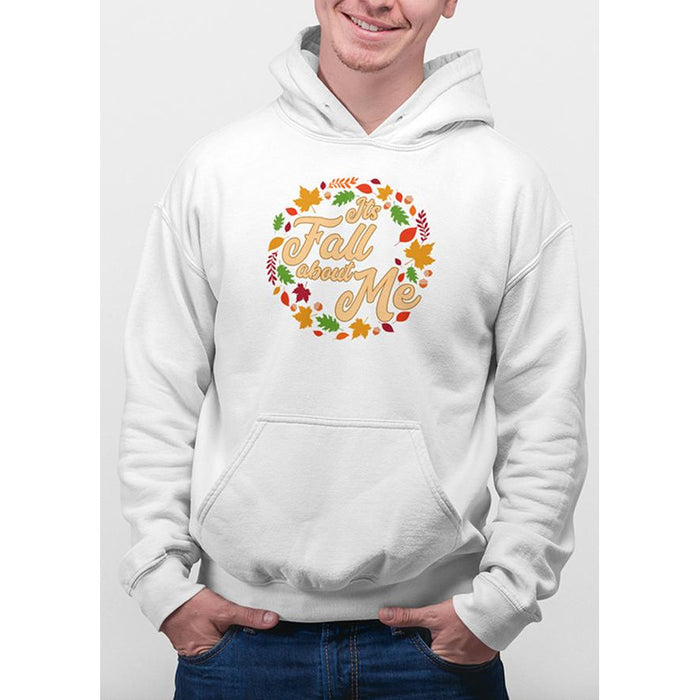 White hoodie with yellow text Its Fall About Me and images of leaves