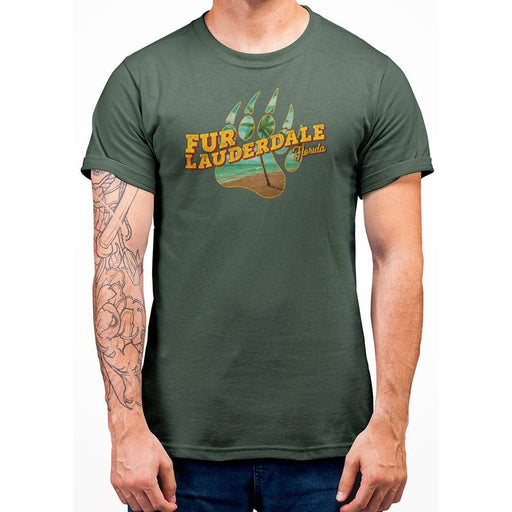 Military Green pre-shrunk cotton t-shirt with Orange Fur Lauderale text and image of bear paw