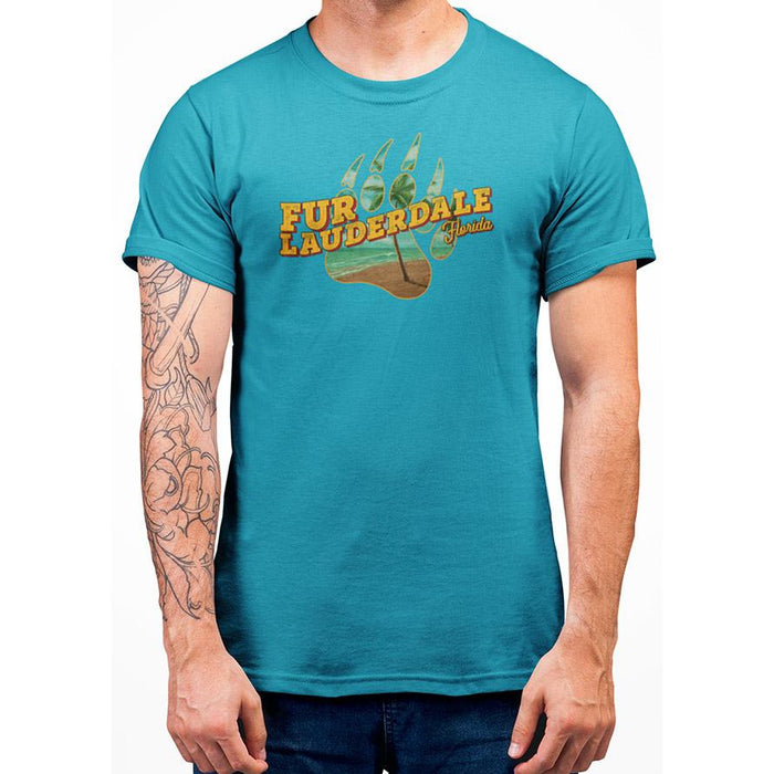 Tropical Blue pre-shrunk cotton t-shirt with Orange Fur Lauderale text and image of bear paw
